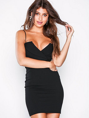 Missguided Fold Over Strappy Bodycon Dress Black