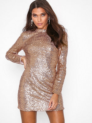 Missguided Sequin Cut Out Back Long Sleeve Mini