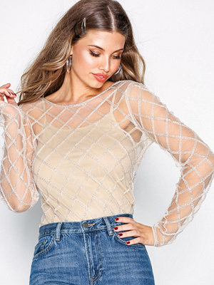 NLY Trend Sheer Beaded Mesh Top Champagne