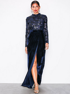 NLY Eve Sequin Top Lace Gown Navy