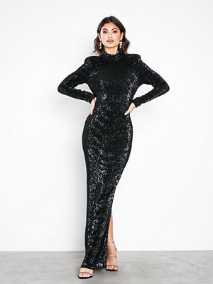 NLY Eve Power Up Sequin Gown Svart