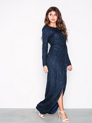 NLY Eve Padded Sequin Lace Gown Navy