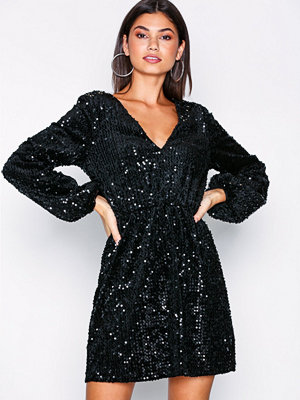Festklänningar - NLY Trend Perfect Velvet Sequins Dress Svart