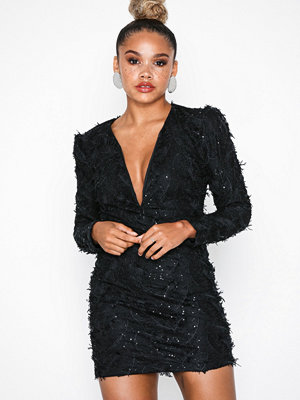 Rare London Sequin Feather Textured Plunge Dress