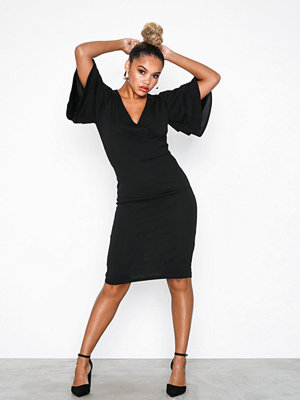 Parisian Frill Sleeve Wrap Front Bodycon Dress Black