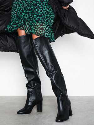 New Look Slouch Thigh Length Heeled Boots Black
