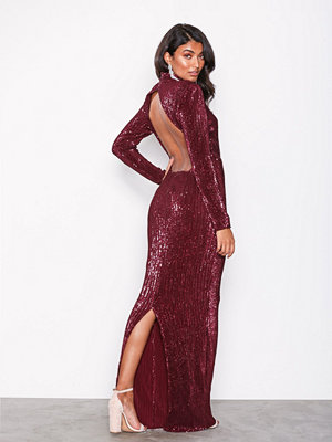 NLY Eve Power Up Sequin Gown Burgundy