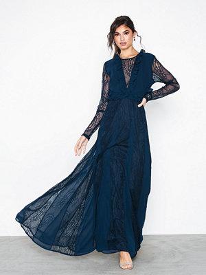 True Decadence Lace Sleeve Midi Dress Navy