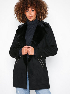 River Island Fur Bonded LL Jacket Black