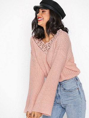 Pieces Pckaisee Ls V-Neck Knit Rosa