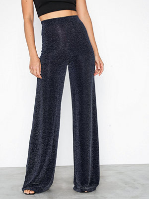Missguided svarta byxor Glitter Co Ord Wide Leg Trouser Navy