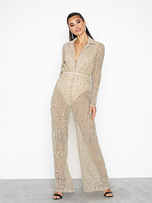 Missguided Glitter Vneck Jumpsuit Gold