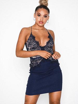 Rare London Body Lace Mini Dress Navy