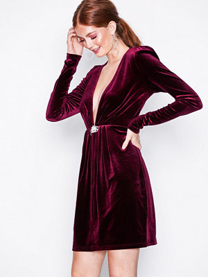 NLY Trend Decorated Velvet Dress Burgundy
