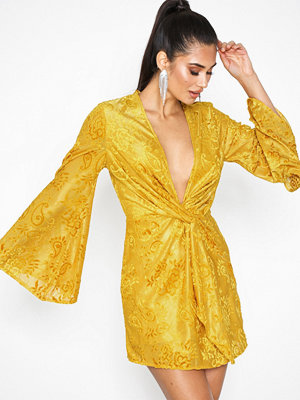 Missguided Flared Long Sleeve Twist Front Mini Mustard