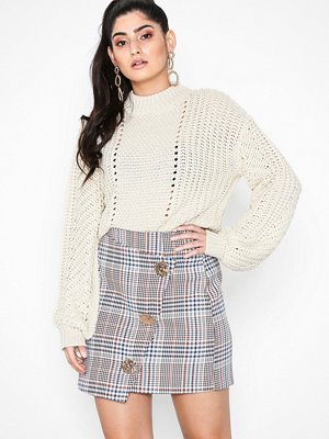 River Island Check Wrap Mini Skirt Brown