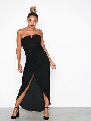 Rare London Wrap Drape Midi Dress Black