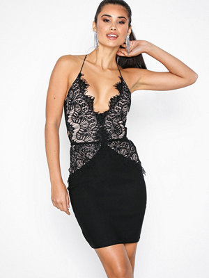 Rare London Body Lace Mini Dress Black