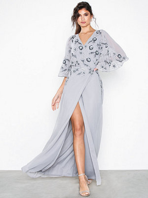 Maya Wrap Cape Maxi Dress Grey
