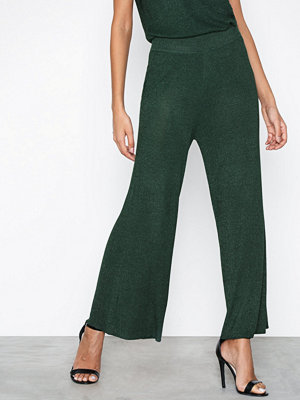 Selected Femme omönstrade byxor Slfsada Mw Cropped Knit Pant Ofw Mörk turkos