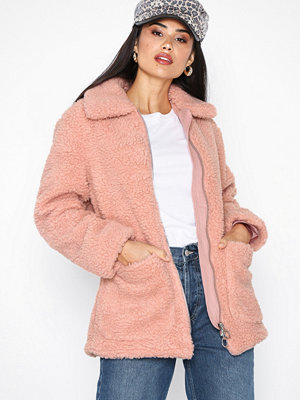 Topshop Borg Zip Up Jacket Pink
