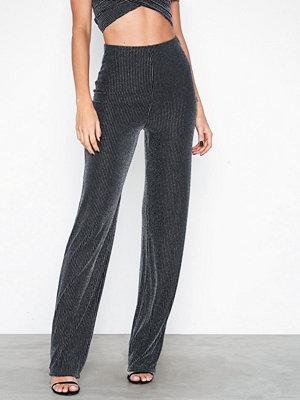 NLY One mörkgrå byxor Lurex Stripe Pant