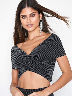 NLY One Glitter Stripe Top Svart/Silver