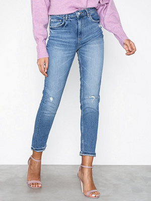 Jeans - Gina Tricot Leah Slim Mom Jeans Mid Blue