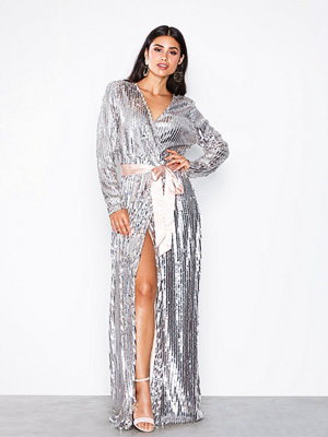 NLY Eve Wrap Sequin Gown Champagne