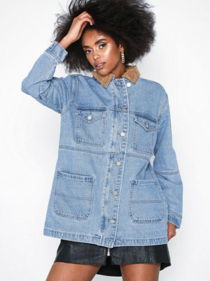 Missguided Collar Utility Denim Jacket Stonewash