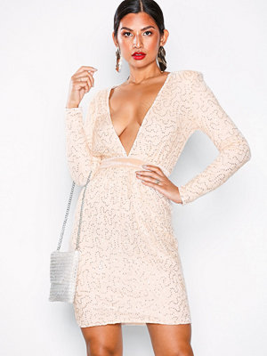 NLY Eve Open Back Lace Draped Dress Champagne