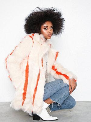 Glamorous Fake Fur Stripe Coat Cream