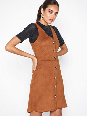 New Look Suedette Button Through Pinafore Dress