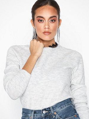 Vero Moda Vmiva Ls O-Neck Lace Blouse Ljus Grå
