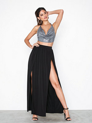 NLY One Double Split Skirt Svart