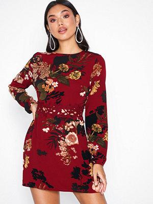 Ax Paris Long Sleeve Floral Dress Wine