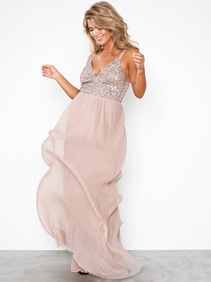 Maya Cami Plunge Delicate Sequin Pleated Dress Taupe