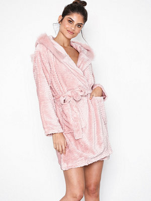 Topshop Faux Fur Robe Dusty Pink