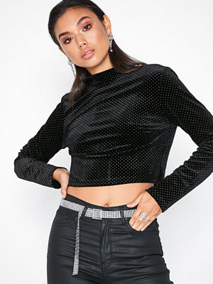 Glamorous Velvet Dot Top Black