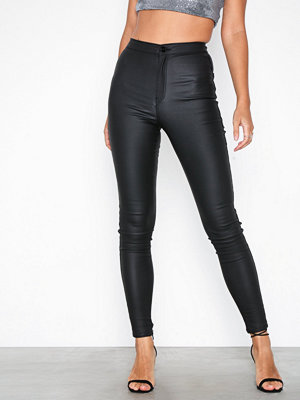 Missguided svarta byxor Vice Coated Skinny Black