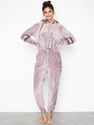 River Island Velour Fur Blocking Jumpsuit Lilac
