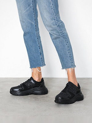 NLY Shoes Perfect Chunky Sneaker Black Glitter