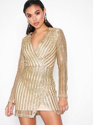 Missguided Glitter Striped Front Wrap Dress