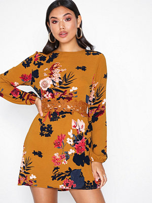 Ax Paris Long Sleeve Floral Dress Mustard