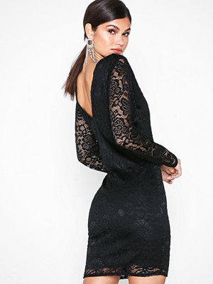 NLY Trend Deep V Lace Dress Svart