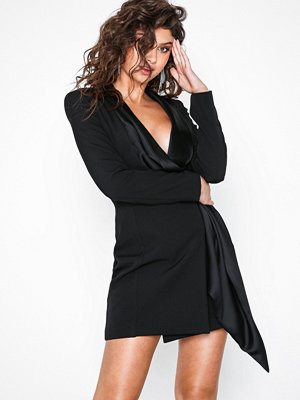 Missguided Drape Wrap Blazer Dress Black