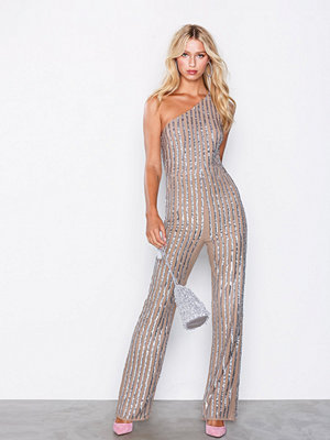 Maya Stripe Embellished One Shoulder Jumpsuit