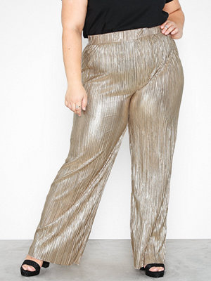 NLY Trend vita byxor Pleated Shiny Pants Guld