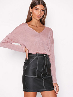 Missguided Contrast Stitch Utility Pocket Denim Mini Skirt Black
