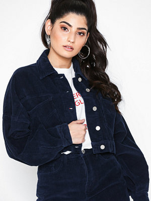 Missguided Cropped Drop Shoulder Cord Jacket Navy